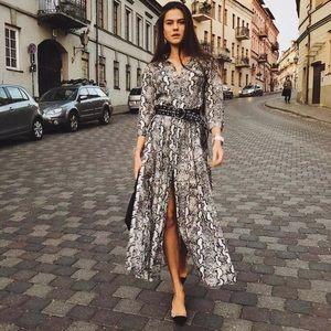 ZARA AW18 SNAKESKIN PRINTED SHIRT DRESS Size XS